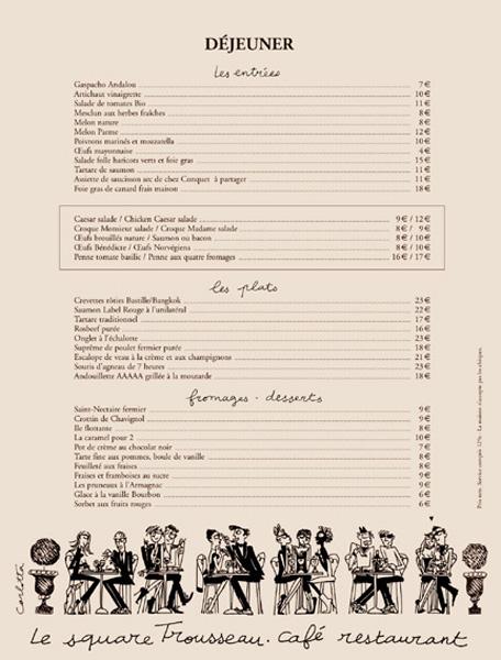 Paris Restaurant Menu